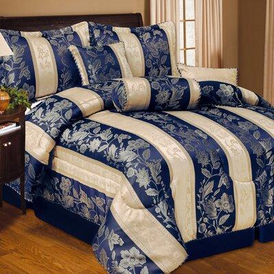 Soho Hotel 7 Piece Comforter Set Color: Navy Blue, Size: Queen