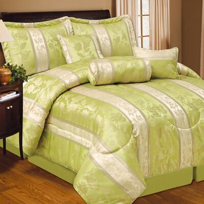 Soho Hotel 7 Piece Comforter Set Color: Lime, Size: Queen