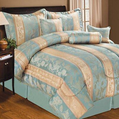 Soho Hotel 7 Piece Comforter Set Color: Blue, Size: King