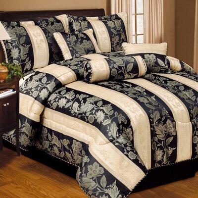 Soho Hotel 7 Piece Comforter Set Color: Black, Size: Queen