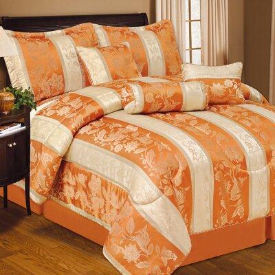 Soho Hotel 7 Piece Comforter Set Color: Orange, Size: Queen