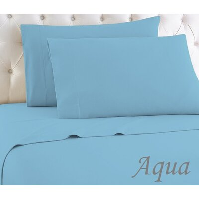 Crosland 1000 Thread Count Quality Cotton Sheet Set Size: Full, Color: Aqua