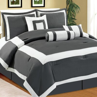 Hotel 7 Piece Comforter Set Color: Silver, Size: King