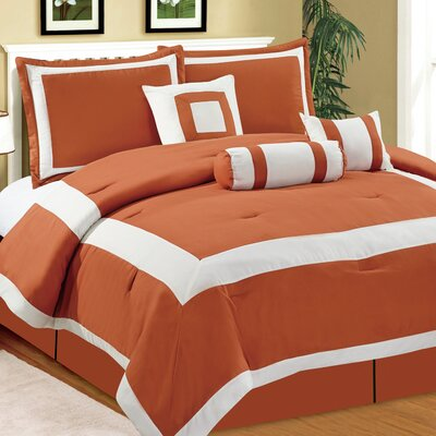 Hotel 7 Piece Comforter Set Size: Queen, Color: Orange