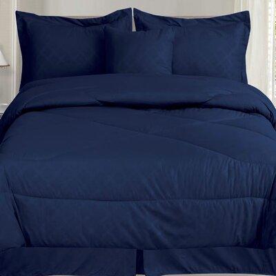 Lush 7 Piece Queen Comforter Set Color: Navy Blue