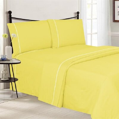 4 Piece Ultra Luxe Wrinkle Free Embossed Pipeline Sheet Set Size: Full, Color: Yellow