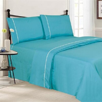 4 Piece Ultra Luxe Wrinkle Free Embossed Pipeline Sheet Set Size: Twin, Color: Aqua