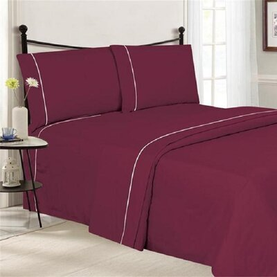 4 Piece Ultra Luxe Wrinkle Free Embossed Pipeline Sheet Set Size: Full, Color: Burgundy