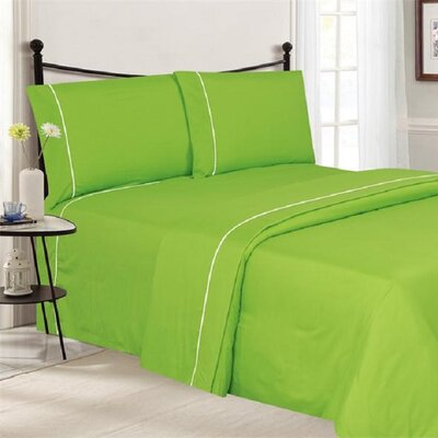 4 Piece Ultra Luxe Wrinkle Free Embossed Pipeline Sheet Set Size: Twin, Color: Lime Green