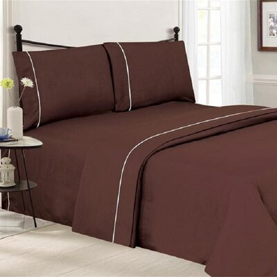 4 Piece Ultra Luxe Wrinkle Free Embossed Pipeline Sheet Set Size: Full, Color: Chocolate