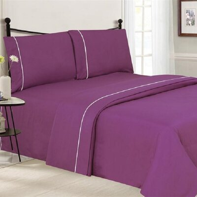 4 Piece Ultra Luxe Wrinkle Free Embossed Pipeline Sheet Set Size: Full, Color: Plum