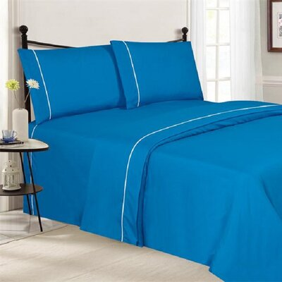 4 Piece Ultra Luxe Wrinkle Free Embossed Pipeline Sheet Set Size: King, Color: Sky Blue