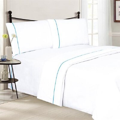 4 Piece Ultra Luxe Wrinkle Free Embossed Pipeline Sheet Set Size: Queen, Color: White