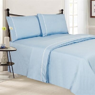 4 Piece Ultra Luxe Wrinkle Free Embossed Pipeline Sheet Set Size: Queen, Color: Baby Blue