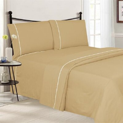 4 Piece Ultra Luxe Wrinkle Free Embossed Pipeline Sheet Set Size: Queen, Color: Gold