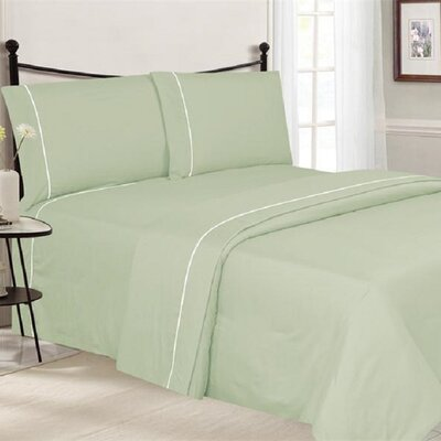 4 Piece Ultra Luxe Wrinkle Free Embossed Pipeline Sheet Set Size: Queen, Color: Mint