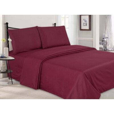 Ultra-Luxe Double-Brushed 4 Piece Sheet Set Size: King, Color: Burgundy