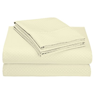 Ultra-Luxe Double-Brushed Embossed Microfiber Sheet Set Color: Cream, Size: King