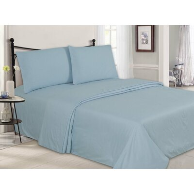 Ultra-Luxe Double-Brushed 4 Piece Sheet Set Size: King, Color: Light Blue