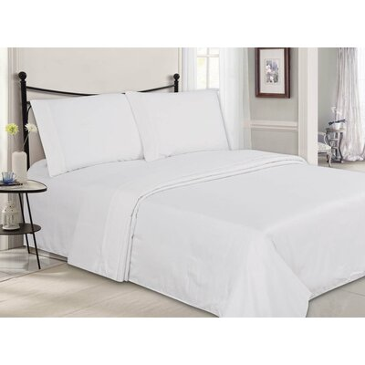 Ultra-Luxe Double-Brushed 4 Piece Sheet Set Color: White, Size: Queen
