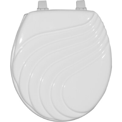 Painted Wave Design Elongated Toilet Seat Finish: White
