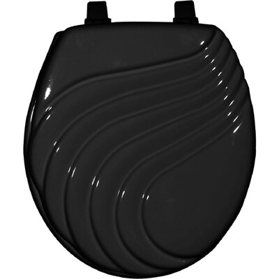 Painted Wave Design Elongated Toilet Seat Finish: Black