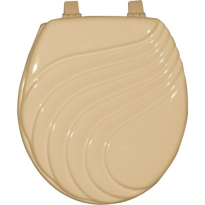 Painted Wave Design Elongated Toilet Seat Finish: Beige