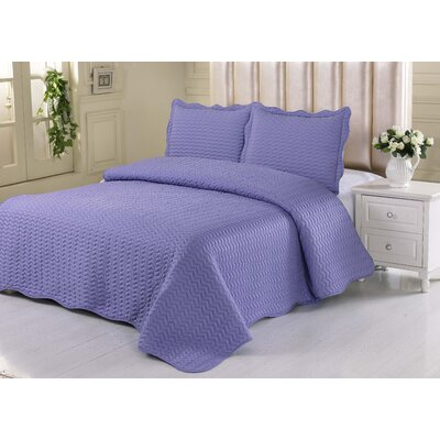 Simple Elegance Embossed Quilt Set Size: Twin, Color: Violet