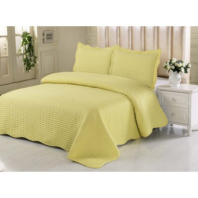 Simple Elegance Embossed Quilt Set Size: King, Color: Yellow