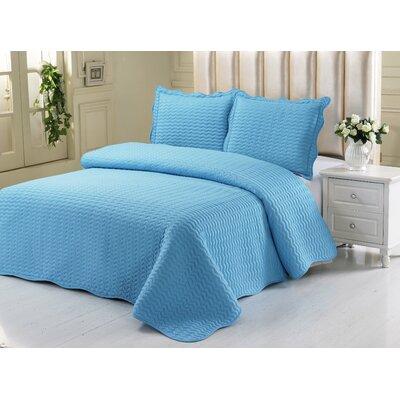 Simple Elegance Embossed Quilt Set Color: Aqua, Size: Queen