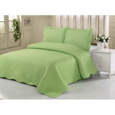 Simple Elegance Embossed Quilt Set Size: King, Color: Lime