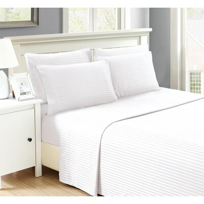 Perth 6 Piece Ultra Luxe Wrinkle Free Embossed Dobby Stripe Sheet Set Size: Queen, Color: White