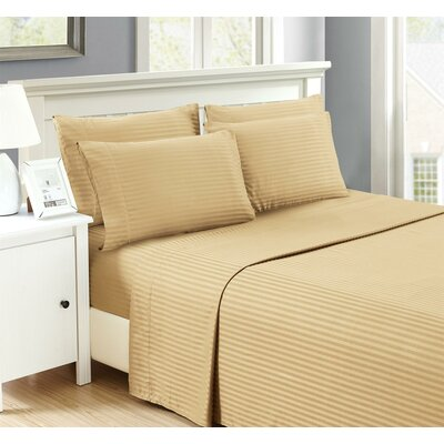 Perth 6 Piece Ultra Luxe Wrinkle Free Embossed Dobby Stripe Sheet Set Size: Full, Color: Taupe