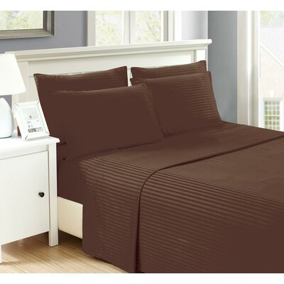 Perth 6 Piece Ultra Luxe Wrinkle Free Embossed Dobby Stripe Sheet Set Size: Full, Color: Chocolate