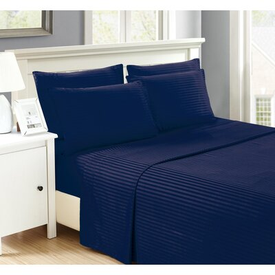 Perth 6 Piece Ultra Luxe Wrinkle Free Embossed Dobby Stripe Sheet Set Size: Queen, Color: Navy