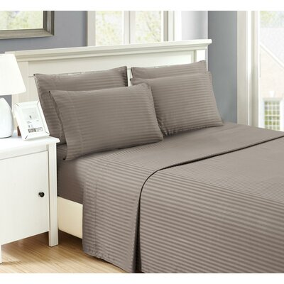 Perth 6 Piece Ultra Luxe Wrinkle Free Embossed Dobby Stripe Sheet Set Size: Twin, Color: Gray
