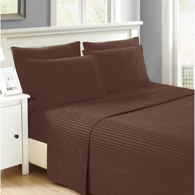Hobart Stripped Sheet Set Size: Queen, Color: Chocolate
