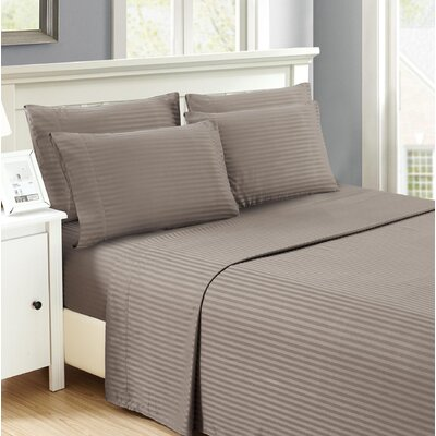 Hobart Stripped Sheet Set Size: Queen, Color: Gray