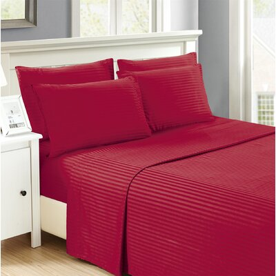 Hobart Stripped Sheet Set Size: King, Color: Burgundy