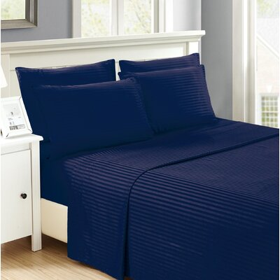 Hobart Stripped Sheet Set Size: King, Color: Navy