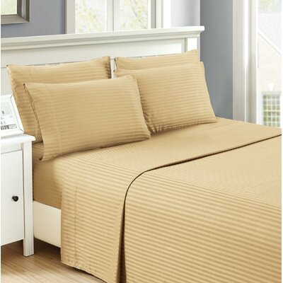 Hobart Stripped Sheet Set Size: Twin, Color: Taupe