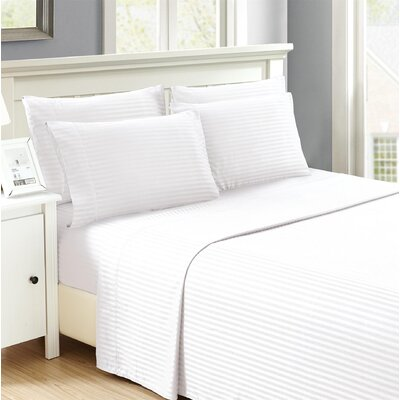 Hobart Stripped Sheet Set Size: Queen, Color: White
