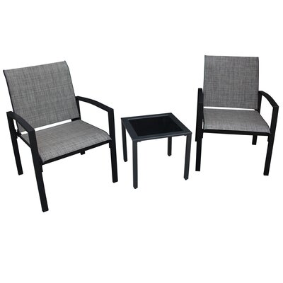 Galveston 3 Piece Dining Set Finish: Black