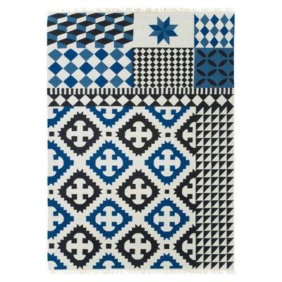 Kilim Palermo Blue Ikat Area Rug Rug Size: 57 x 711
