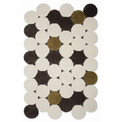 Hand Tufted Jose Gandia Circulos Ivory Geometric Area Rug Rug Size: 511 x 92
