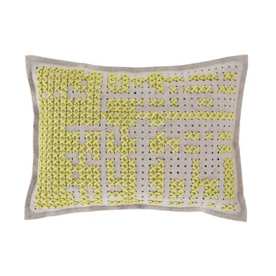 Canevas Wool Lumbar Pillow Size: 17 W x 22 W, Color: Yellow / Light Felt