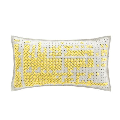 Canevas Wool Lumbar Pillow Size: 15 H x 26 W, Color: Dark Yellow / Grey