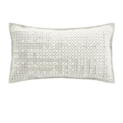 Canevas Wool Lumbar Pillow Size: 15 H x 26 W, Color: White / Grey