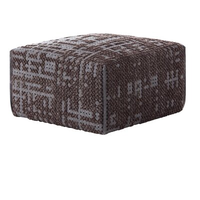 Canevas Square Abstract Ottoman Upholstery: Charcoal Dark Base Grey