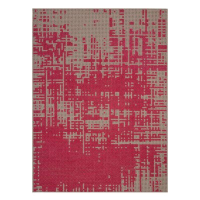 Canevas Abstract Dark Pink / Dark Felt Area Rug Rug Size: 28 x 49